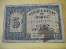 A 2441 BANQUE D'ETAT DU MAROC 5 FRANCS 01. 08. 1943 N° 8848795 - Marocco