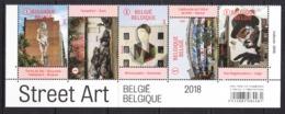 2018 Belgium Street Art Complete Strip Of 5 MNH  @ BELOW Face Value  (folded Once) - Belgien