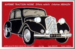 SUPER PIN'S TRACTION CITROËN NOIRE : Création Sigée SEGALEN, émaillage Grand Feu Base Argent, Clou Long Format 3,8X2cm - Citroën