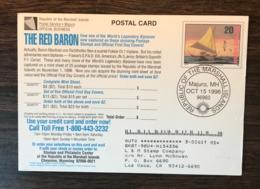 MARSHALL ISLANDS 1996 Birds Postal Stationery Postcard Canoe Booby Cancelled - Birds