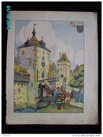DS1    004  Signé  HANSI  HUEN .MOLSHEIM Moyen âge  Papier Velin  Linotype De  27 X 35 Cm - Alsace