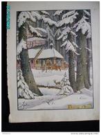 DS1    005  Signé  HANSI  HUEN   L '.ERMITAGE  EN HIVER  Moyen âge  Papier Velin  Linotype De  27 X 35 Cm - Alsace