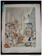 DS1    007  Signé  HANSI  HUEN  CUISINIERS AU CHATEAU  .Moyen âge  Papier Velin  Linotype De  27 X 35 Cm - Alsace