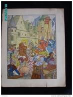 DS1    008  Signé  HANSI  HUEN .MARCHANDES  AU CHATEAU  COCHON .Moyen âge  Papier Velin  Linotype De  27 X 35 Cm - Alsace