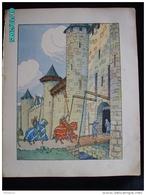 DS1    011  Signé  HANSI  HUEN ...ENTREE  AU CHATEAU  PONT LEVIT.Moyen âge  Papier Velin  Linotype De  27 X 35 Cm - Alsace