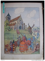 DS1    012  Signé  HUEN ....CHAPELLE  MOULIN  Moyen âge  Papier Velin  Linotype De  27 X 35 Cm - Alsace