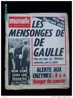 JX1   003  . OCTOBRE 1970  .MENSONGES DE  DE  GAULLE ...   JOURNAL MINUTE ..ALGERIE  VIVA NAPOLI  CRISE DU FOOT - Journaux - Quotidiens