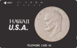 Télécarte Japon / 110-51050 - Pièce De Monnaie HAWAII - COIN Japan Phonecard / USA Related - MÜNZE - 516 - Timbres & Monnaies