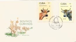 V) 1973 CARIBBEAN, CUBAN CATTLE'S, RACES, JERSEY, SWISS ,WITH SLOGAN CANCELATION IN BLACK, FDC - Cuba