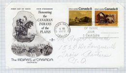 L4E162 CANADA FDC Indians Of The Plains Les Indiens Des Plaines 8c 8c Ottawa 06 07 1972 - 1971-1980