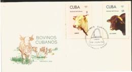 V) 1973 CARIBBEAN, CUBAN CATTLE'S, RACES, CHAROLAISE, SANTA GERTRUDIS, WITH SLOGAN CANCELATION IN BLACK, FDC - Cuba