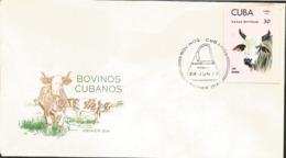 V) 1973 CARIBBEAN, CUBAN CATTLE'S, RACES, BRAHMAN ,WITH SLOGAN CANCELATION IN BLACK, FDC - Cuba