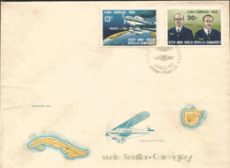 V) 1968 CARIBBEAN, SEVILLE-CAMAGUEY FLIGHT, 35TH ANNIVERASARY, WITH SLOGAN CANCELATION IN BLACK, FDC - Covers & Documents