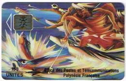 Polynesie Francaise Tahiti Telecarte Phonecard Prepaid PF14A Peche Aux Cailloux Verso Rose Mat SC5 Ut TBE - Frans-Polynesië