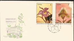 V) 1972 CARIBBEAN, TROPICAL ORCHIDS, BRASSA CATTLEYA SINDAROSSIANA, CYPRIPEDIUM SULIANUM, WITH SLOGAN CANCELATION IN BLA - Cuba