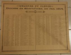 P. Quebec, Historique -Recensement  Religieux  Du Diocese De Sherbrooke Le 1er Jan 1914 -  57cm X 45cm - Historical Documents