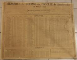 P. Quebec, Historique -Recensement  Religieux  Du Diocese De Sherbrooke Le 15 Aout 1932 - 57cm X 45cm - Historical Documents