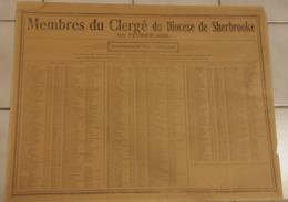 P. Quebec, Historique -Recensement  Religieux  Du Diocese De Sherbrooke Le 1er Fev 1925 - 57cm X 45cm - Historical Documents