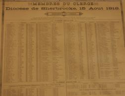 P. Quebec, Historique -Recensement  Religieux  Du Diocese De Sherbrooke Le 15 Aout 1918 - 57cm X 45cm - Historical Documents