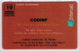 INTERCALL  - CODINF- Tirage : 1.000 Ex - Code Non Gratté - Voir Scans - Autres Prépayées