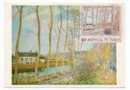 Carte Maximum 1974 -  Arphila 75 - Canal Du Loing De A. Sisley  - YT 1812 - 76 ROUEN - Cartes-Maximum