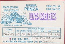 QSL Card Amateur Radio Station Tarhani Museum Of Michail Lermontov Penza Russia USSR Moscow 1994 - Radio Amatoriale