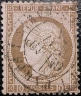 FRANCE Y&T N°54 Cérès 10c Brun Sur Rose. Oblitéré CàD Paris - 1871-1875 Ceres