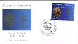 Nouvelle Caledonie Enveloppe Premier Jour First Day Cover General De Gaulle 28/3/95 Gauffre Or Us Courant - Brieven En Documenten