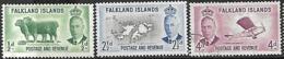 Falkland Islands 1952   Sc#107 & 110   1/2d MLH, 2 1/2d MNH, #112  4d Used   2016 Scott Value $5.15 - Falkland
