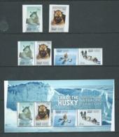 Australian Antarctic Territory 2014 Husky Dog Era Set Of 4 , Miniature Sheet & Peel & Stick Pair MNH - Unused Stamps