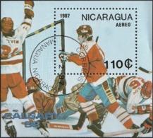 Nicaragua 1987 -  Mi BL172 - YT BF 181A ( Calgary Olympics : Ice-Hockey ) - Nicaragua