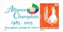 Nouvelle Caledonie Timbre Personnalise Timbre A Moi Prive Alliance Champlain 2015 Francophonie Nouveau - Altri