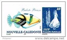 Nouvelle Caledonie Timbre Personnalise Prive Dessin Bunel Poisson Baliste Picasso Cagou Ramon 2014 Neuf Unc - Nouvelle-Calédonie