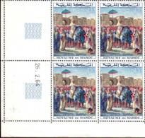 Maroc Poste N** Yv: 471 Mi:530 Delacroix Sultan Moulay Abderahman Bloc De 4 Daté 26-4-64 - Maroc (1956-...)