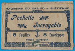 MAGASIN DU CASINO ST-ETIENNE POCHETTE ( VIDE ) INCROYABLE 8 FEUILLES 8 ENVELOPPES VERGE SUPERVIN - Publicités