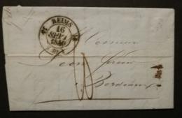 Marne.Lettre Avec Cachet Type 12 De Reims.Pour Bordeaux - 1801-1848: Précurseurs XIX