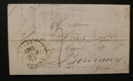 Aube.Lettre (Facture Bonneterie Zeude Et Delebarre) Avec Cachet 13 De Troyes.Pour Bordeaux - 1801-1848: Précurseurs XIX