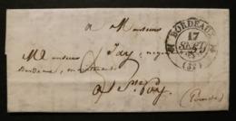 Gironde.Lettre Avec Cachet Type 12 De Bordeaux.Pour Ste Foy - 1801-1848: Précurseurs XIX