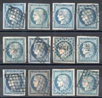 YT N° 4 - Lot De 12 Avec Variantes De Teintes - 1849-1850 Cérès