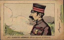 Artiste Cp Silhouettes Japonaises, Officier Japonais D'Infanterie - Japon