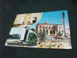 STORIA POSTALE  FRANCOBOLLO ITALIA SALUTI DA SOLETO LECCE CHIESA MONUMENTO AI CADUTI ANNULLO ROSSO - Saluti Da.../ Gruss Aus...