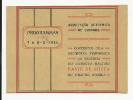 Program - Portugal - 7 E 8 Fevereiro 1916 - Associação Academica De Coimbra - Orchestra Symphonica... - Programmes