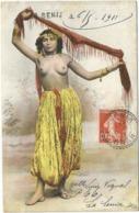 SEMEUSE 10C FACTEUR BOITIER SENIA ORAN 1911 + GRIFFE  SUR CARTE DANSEUSE ARABE - Postmark Collection (Covers)