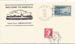 MULLER 15FR LETTRE C. HEX PERLE PORTE AVIONS ARROMANCHES 30.3.1957 LETTRE ENTETE FRENCH CARRIER - Marcophilie (Lettres)