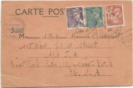 MERCURE 40C POSTES +50C+ IRIS 1FR50 CARTE 7.11.1944 POUR USA CENSURE TARIF 2FR40 - 1938-42 Mercure