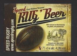 Etiquette De Bière  -  Rug'Beer  -  Speed Rgby -  Brasserie La Motte Juillet à Tréban   (03) - Bière