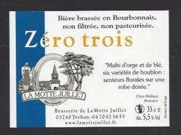 Etiquette De Bière  -  Zéro Trois -  Brasserie La Motte Juillet à Tréban   (03) - Bier