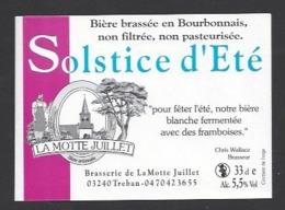 Etiquette De Bière  -  Solstice D'Eté -  Brasserie La Motte Juillet à Tréban   (03) - Birra