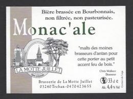 Etiquette De Bière  -  Monac'ale -  Brasserie La Motte Juillet à Tréban   (03) - Birra