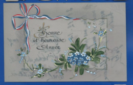 Carte En Celluloid   Peint à La Main   Bonne Et Heureuse Année   Fleurs    écrite En 1914 - Fantasia